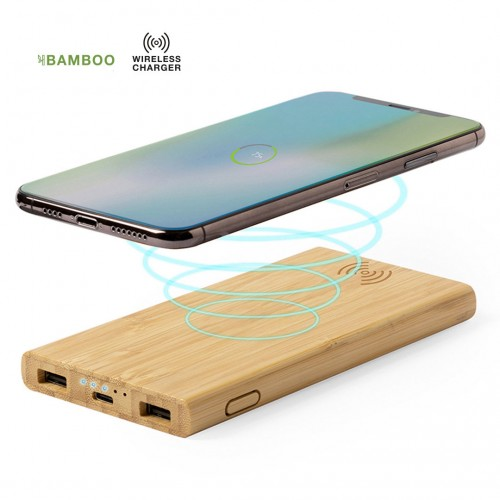 POWER BANK INALAMBRICA BAMBU